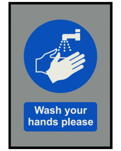 Wash your Hands COVID19 Mat Grey 85cm x 60cm