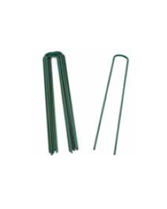 Power Coated Green Galvanised Steel 150mm Grass Pins - Pack of 50